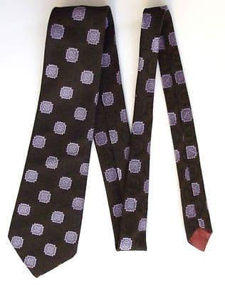 Prova brown tie Purple brocade pattern vintage 1980s polyester Hand washable